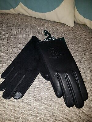 Ralph Lauren Black Leather & Wool Touch Gloves Size M Bnwt