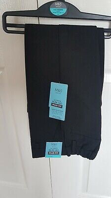 Boys Black Slim Leg Plus Fit School Trousers Age 4-5 From Marks And Spencer...