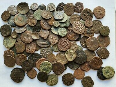 Big Lot Of 98 BIG Ancient/Medieval Byzantine Coins, Mostly Folles, 500-1100 AD