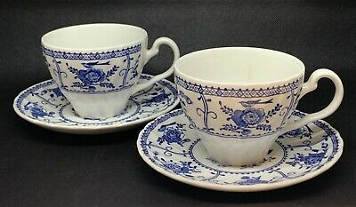 Johnson Brothers Indies Blue & White Coffee Cups & Saucers