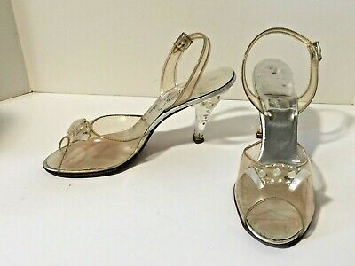 Vintage Lucite Shoes High Heels With Rhinestones Mother Of Pearl And Box