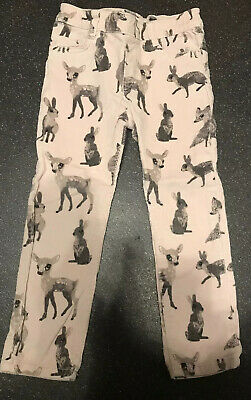 H&M Girls Woodland Animal / Fox Design Fine Cord Trousers Age 2-3 Years VGC
