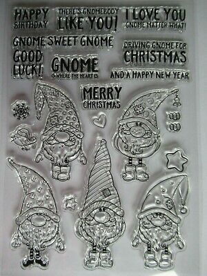 NEW Clear Acrylic Craft Stamp Set Happy Birthday Christmas New Home Gnome Elf