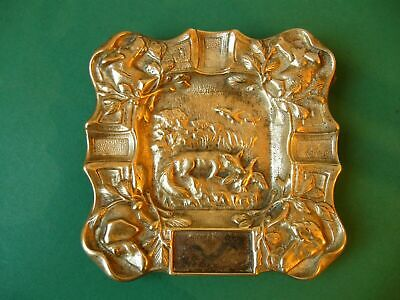 Vintage Hunting Scene Relief Ashtray - Beautiful Brass