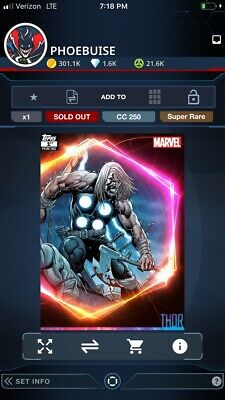 Topps MARVEL COLLECT DIGITAL CARD ULTIMATE UNIVERSE 1st PRINTING THOR 250cc