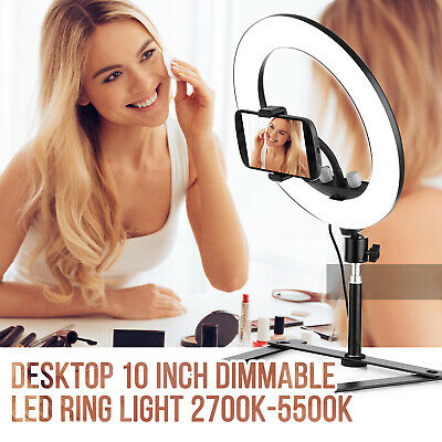 LED Ring Light Studio Photo Video Dimmable Photography Lamp Selfie+Holder L5C3