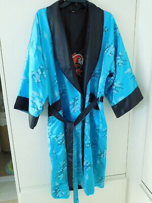 Vintage Reversible Kimono Belt Turquoise Aqua Black Dragon Flowers
