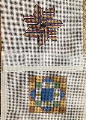 Hand painted Needlepoint Canvas: Two Folk Art Ornaments