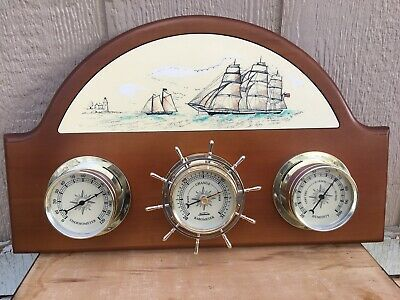 Vintage weather station. 3 gauge station by Sunbeam. Schooner ship / Lighthouse