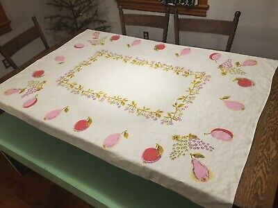 Vtg Mid Century Tablecloth Abstract Pink FRUITS (Cherries Pears Plums Grapes)