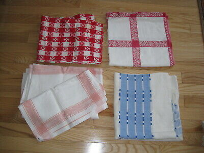 Vtg Cotton Tablecloth Farmhouse/County Style Lot 4 Pc