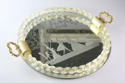 VINTAGE MURANO ART GLASS ETCHED MIRROR GOLD FLECKED SERVING TRAY Ercole Barovie