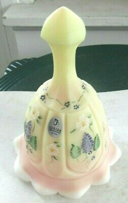 Fenton New Century Burmese Hand Painted Grapes & Vines,Daisies Signed Bell