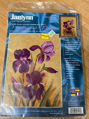 Vintage Janlynn Needlepoint Kit Purple Bearded Irises 2001 No. 17-26