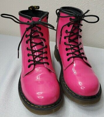 Dr MARTENS Doc Delaney Pink Patent Leather Ankle Boots Shoes Youth Size 3 Girls