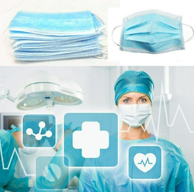 100 PCS Disposable Face Mask Waterproof Medical Dental protect against any virus