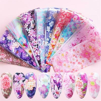 Flower Starry Sky Nail Art Stickers Nail Foil Manicure Decor Holographic Decals