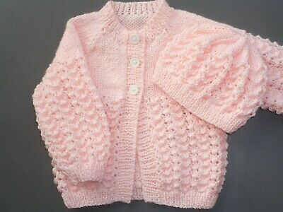 New Hand Knitted Baby Cardigan & Hat Pink 3-6 months