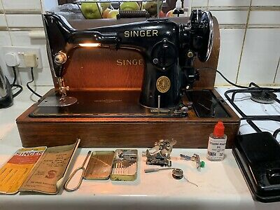 Vintage Singer Electric Sewing Machine Model 201K-2 Potted Motor