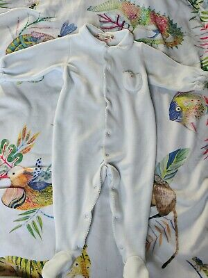 Bonpoint Cherry Velour Footed Sleepsuit blue RRP £87! Super soft