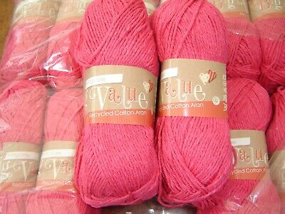 King Cole Big Value Recycled Cotton Aran Yarn Shade 1165 Fuchsia 10  x 100g