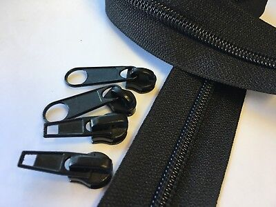 BLACK Upholstery Zippers #5 Coil Continuous Yardage - 25 yds & 20 Short Pulls