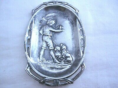 RARE WMF ART NOUVEAU DISH DEPICTING A BOY WITH A BIRD & TWO DOGS c1890-1910
