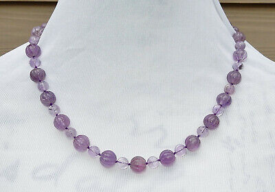 VINTAGE CHINESE 109g CARVED AMETHYST NECKLACE 13-14mm LAVENDER MELON BEADS 23""