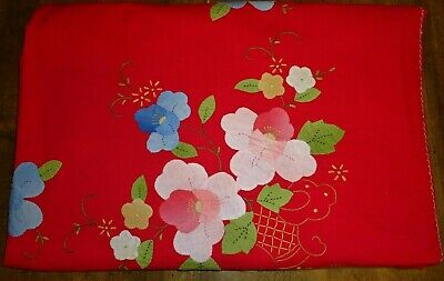 """VINTAGE HAND MADE HANDMADE APPLIQUE SPRING POPPY FLORAL COTTON TABLECLOTH 64x84"""""""