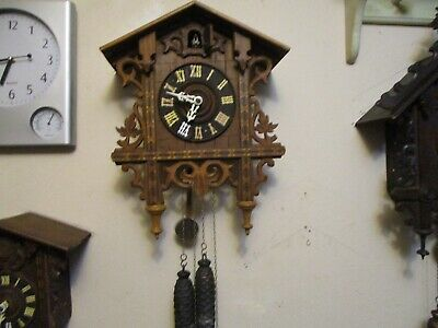 Antique Railroad Cuckoo Clock Runs Good. Flapping Wings Bird.