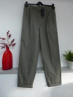 """Mens Lovely Cotton Traders Grey Chino Cotton Trousers Size 34""""W x 31""""L, Bnwt"""