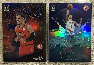 2019-20 Panini Optic TRAE YOUNG Purple Holo SPLASH & MY HOUSE 2-Card Insert Lot