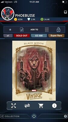 TOPPS Marvel Collect Vintage Series 2 Black Widow Digital Card