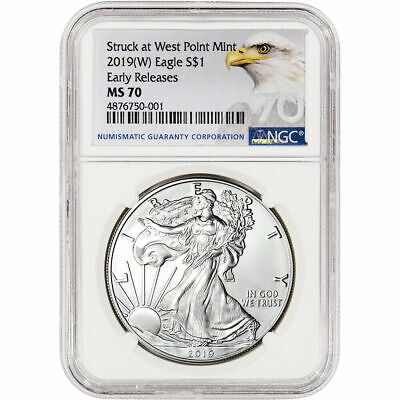 2019 W American Silver Eagle - NGC MS70 - Early Releases Bald Eagle Label