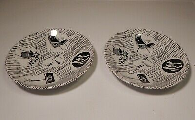 Vintage Retro Ridgway Potteries Homemaker 2 Saucers - 5.5 inches - Black & White