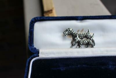 Beautiful Turn of the Century Sterling with Marcacites Scottie Dogs Pin