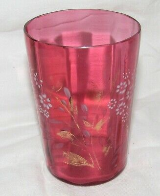 Antique Victorian Cranberry Interior Ribbed Tumbler W/ White Floral Decoration