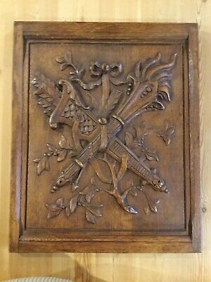 Framed French Carved Oak Panel Of Quiver With Arrows & Torchere Bound By Ribbon
