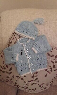 Beautiful Newborn Hand Knitted Baby Boy Cardigan/Hat with tassle.