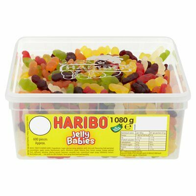 HARIBO Jelly Babies - Full Tub 1080g - Approx 600 sweets