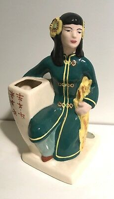 Gorgeous tall 1940's Vintage Weil Ware Asian Lady vase SIGNED
