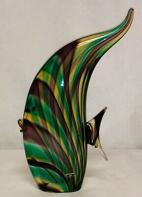 Tall Amethyst & Green Murano Glass Angelfish SIGNED by Luigi Mellara – RARE!