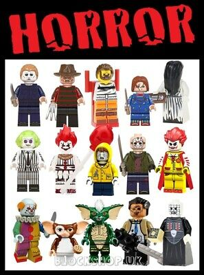 HORROR MOVIE FIGURES - FREDDY , JASON , CHUCKY , IT ETC - fits lego blocks