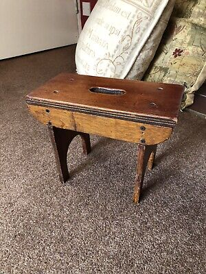 Stool Milking Step Chippy Antique Dark Wooden Seat Chair WORN OLD
