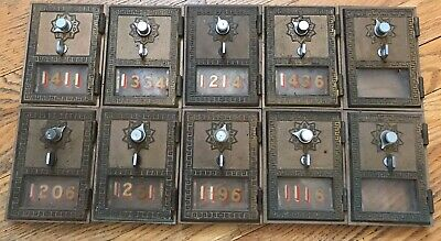 Vintage Lot of Ten 10 Brass US Post Office Box Doors No Combination