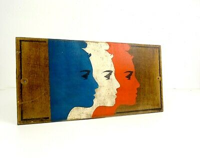 Handpainted Antique Art Deco French Flag On Wood Sign Tricolore Wall Art 1930