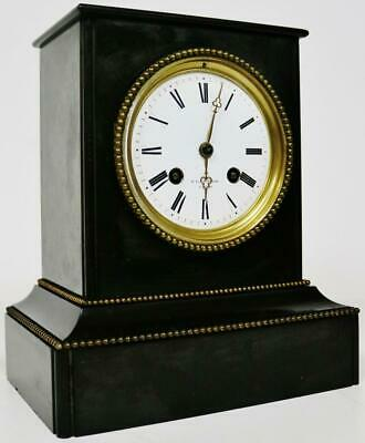Small Antique French 8 Day Slate Mantel Clock Classic Strike Marble Mantle Clock