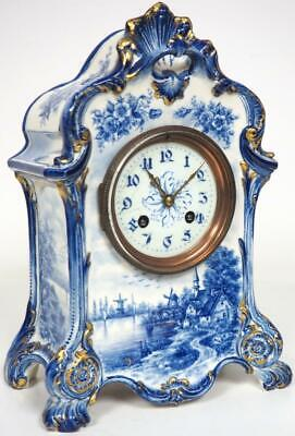 Wonderful French 8 Day Mantel Clock Hand Painted Blue Delft Ware Pottery Case