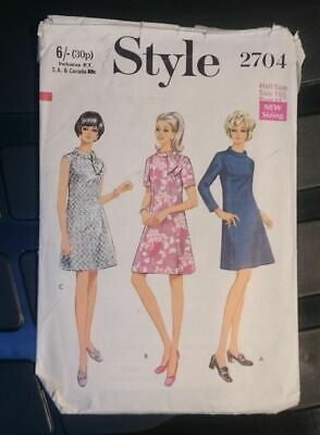 Style 2704; ©1970; Dress in Half-Sizes Sewing Pattern