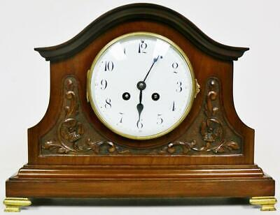 Quality Antique French 8 Day Mantel Clock Carved Oak Gong Striking Mantle Clock